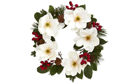 """Nearly Natural 26"""" Magnolia, Pine and Berries Wreath 27770232-fcd5-4125-b159-2811af5880ac"""