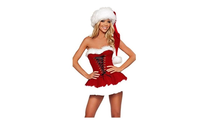 Luckygirls Women's Christmas Costumes Strapless Dress Holiday Lingerie Santa Suit – Picture Show / Free Size