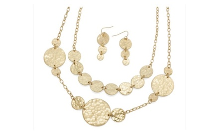Hammered Discs Double Layered Necklace Set