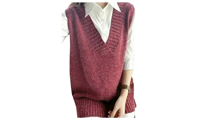 Asher Womens Casual Sleeveless Pure Color Loose V Neckline Knit Waistcoat