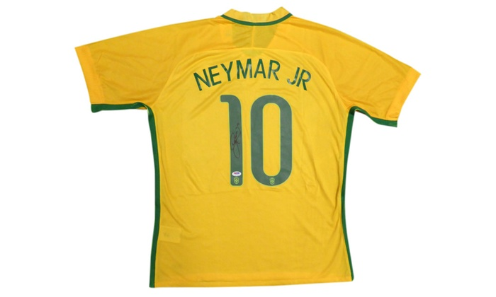 low priced 784e8 96f6c Autographed Neymar Jr. Brazil Brasil CBF Yellow Authentic Nike Jersey