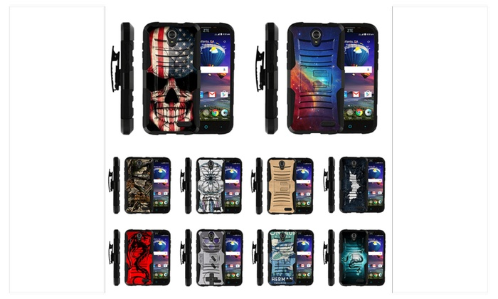 official photos 61aa2 c35e6 Rugged Hybrid Holster Belt Clip Case for ZTE Grand X 3 & ZMax Champ ...
