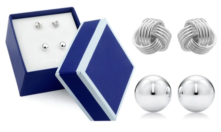 Sterling Silver Love Knot and Ball Stud Earring Set by MUIBLU Gems (2 Pairs)