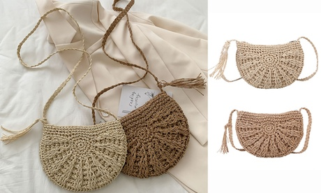 Women Handmade Woven Straw Crossbody Purse Shoulder Bag with Tassels (Goods Women's Fashion Accessories Handbags Cross-Body) photo