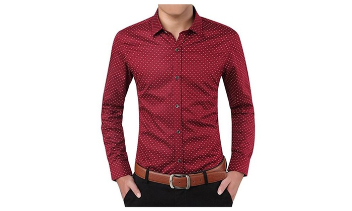 Men's Slim Fit 100% Cotton Polka Dots Button Bown Shirts