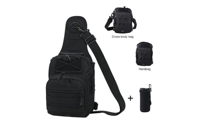 Water Bottle Pouch Chest Bag Daypack for Camping Hiking Trekking
