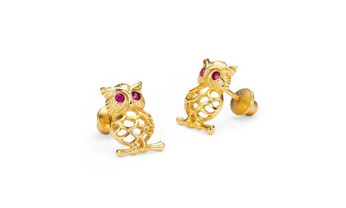 e9ea35fd449 14k Gold Plated Brass Owl CZ Screwback Baby Girls Earrings Sterling Silver  Post