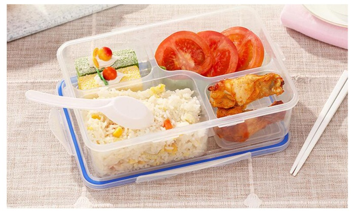 high quality microwave and freezer safe bento lunch box 1pack 2pack groupon. Black Bedroom Furniture Sets. Home Design Ideas