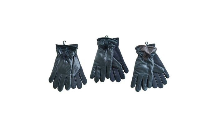 Women's PU Leather Warm Winter Gloves with Imitation Fur Lining