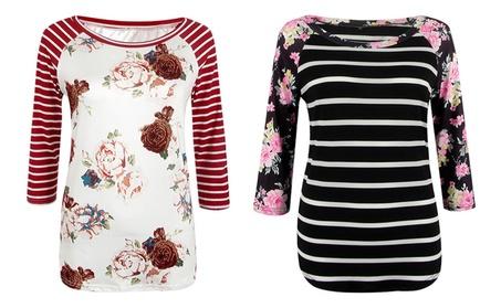Plus Size Zebra Flower Print 2/3 Sleeves Shirt 397a709e-9e02-44ec-b4a2-82e5b01f64f1