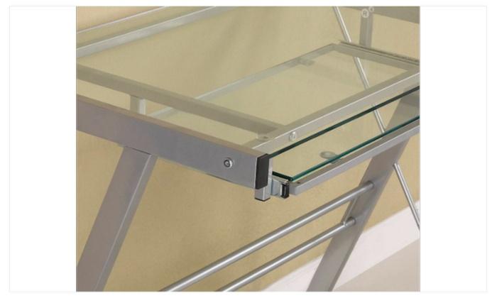 Glass Atrium Metal And L Shaped Computer Desk