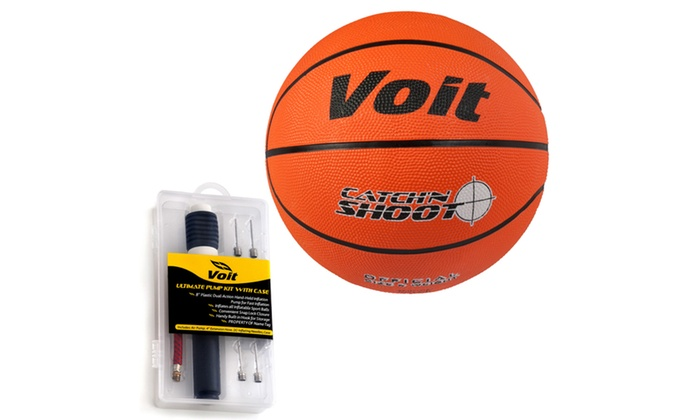 Voit Size 7 Rubber Basketball with Ultimate Inflating Kit