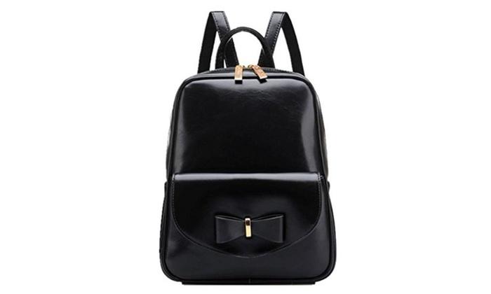 Emoyi Girls Vintage Bow Leather College School Laptop Backpack Shoulder Bag