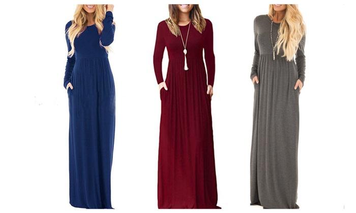 868436f8f37e Women Long Sleeve Loose Plain Maxi Dresses
