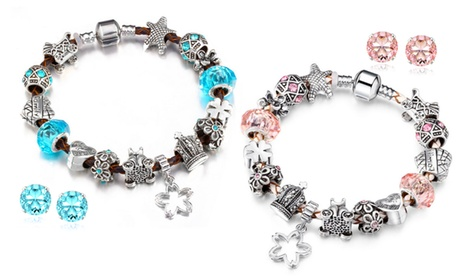 Genuine Leather Crystal Bracelet and Stud Set With Crystals From Swarovski