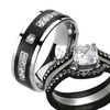 Her & His Silver & Black Stainless Steel Bridal Set & Titanium Band