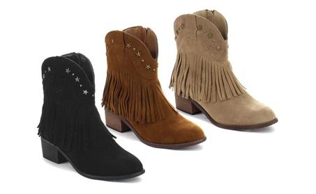 Beston DA42 Women's Low Heel Western Style Cowboy Fringe Ankle Booties b180b0f7-fe4a-46f6-aa15-976caeeda425
