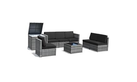 Costway 8 PCS Wicker Sofa Rattan Dinning Set Patio Furniture w/ Storage Table