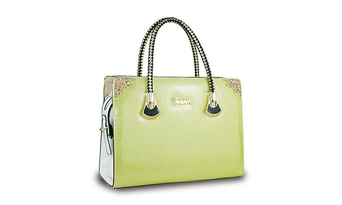 Women Shiny Patent Leather Handbags Tote Casual Shoulder Bags