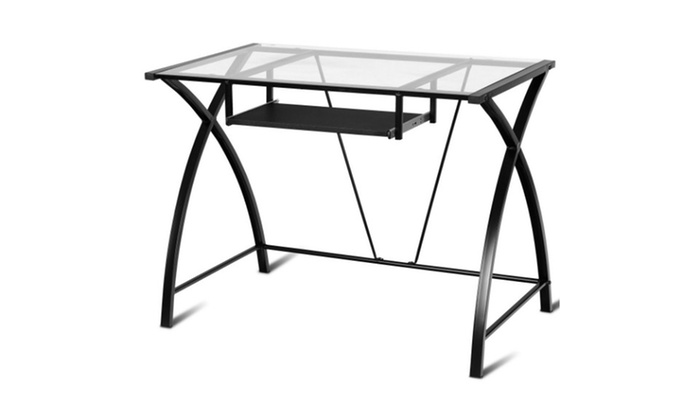 Clear Glass Top Computer Desk With Pull Out Keyboard Tray Home