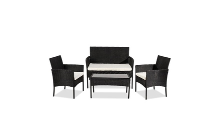 4-Piece Outdoor Patio PE Rattan Wicker Table Shelf Sofa Furniture Set