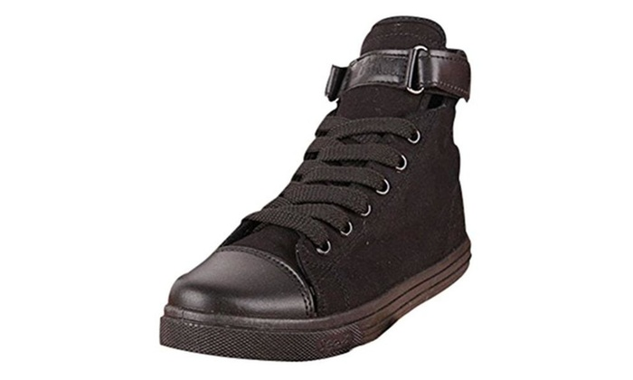 Cap Toed High Top Velcro Pure Color Lace Up Fashion Sneakers