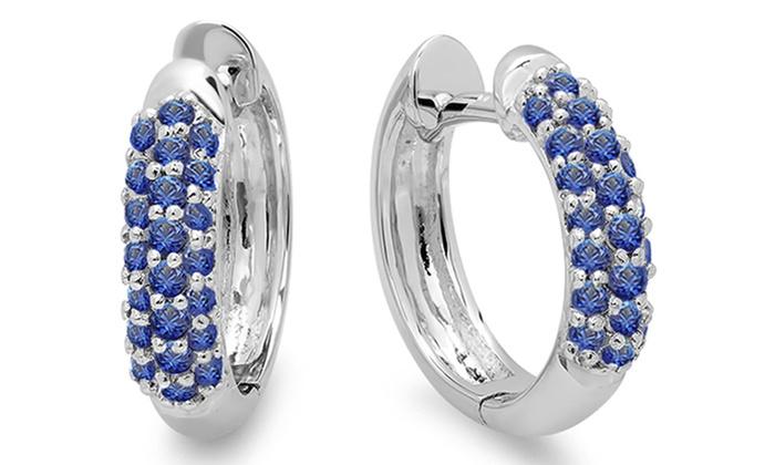 0ee47cac481 0.30 Ctw 18K White Gold Round Blue Sapphire Huggies Hoop Earrings