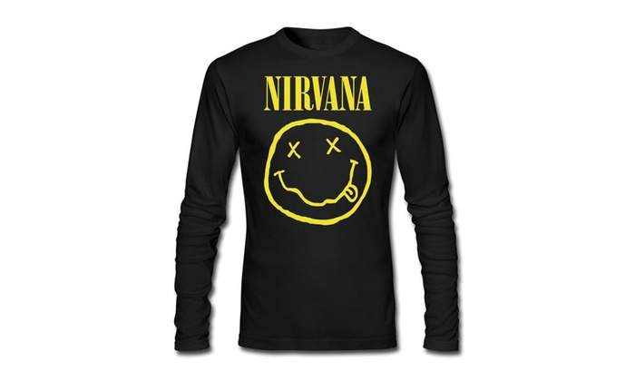 624f1bf6 Mens Nirvana Smiley Face Smile Long Slev Tee Tshirt   Groupon
