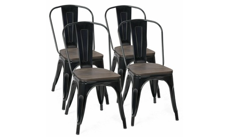 Costway Set of 4 Tolix Style Dining Side Chair Seat Stackable Bistro Cafe New