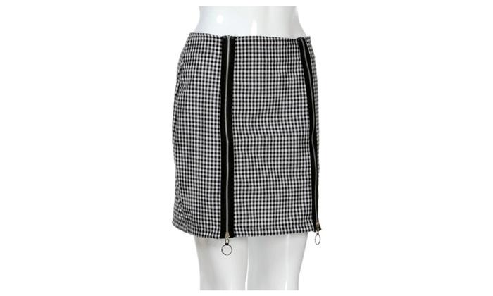 09d97ff84 Black&White Plaid Ring Zipper Package Hip Short Pencil Mini Skirt | Groupon