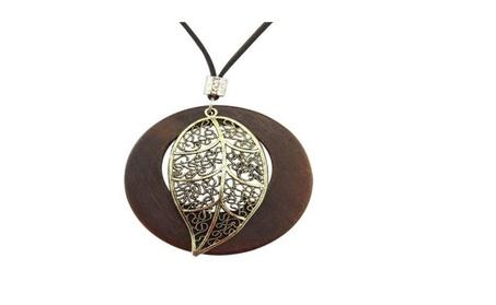 Wooden long sweater chain necklace d66cda94-5164-45d0-9d8f-49e6a676de7a