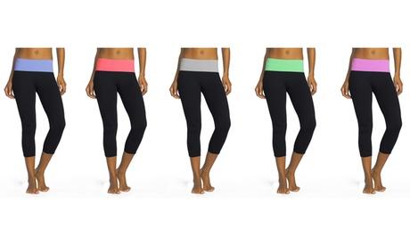 Women's Foldover Capri Leggings (5-Pack) 9c8f39fc-844b-43a6-8763-396c4bba3212