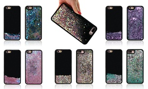 Quicksand Bling Glitter Flowing Black Liquid Case for iPhone