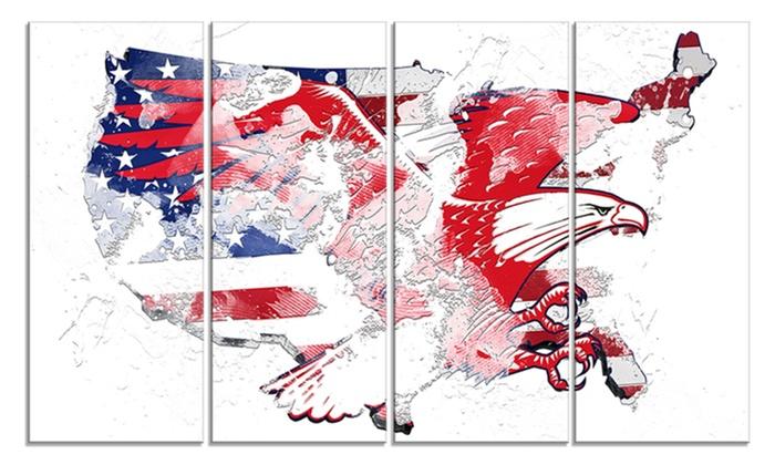 American Eagle Map Art Metal Wall Art | Groupon