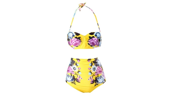 Women's Floral Printed High-waisted Bikini Sets