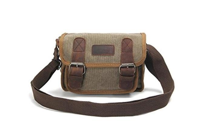 Satchel Bag Canvas Causal Shoulder bag with Genuine Leather Decoration