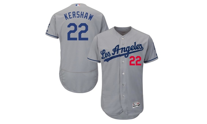 low priced 0c09b e5e2b Mens Los Angeles Dodgers Clayton Kershaw Road Gray Player ...