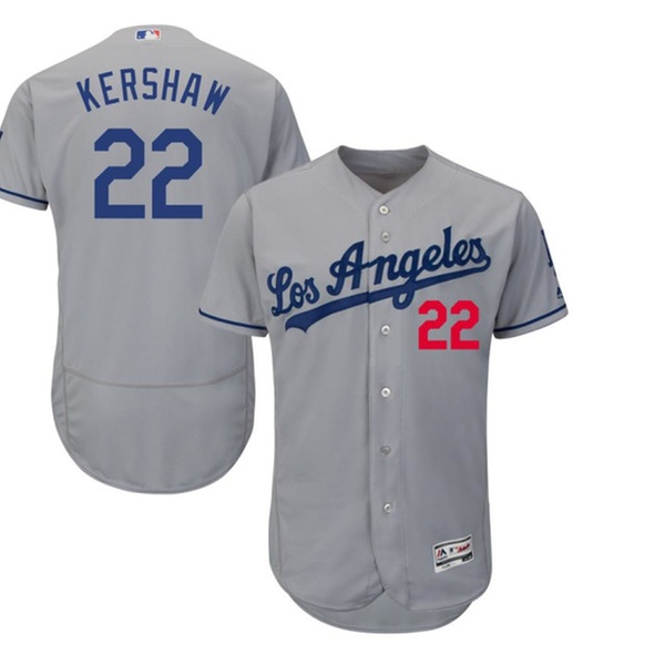 the latest 8651b 00057 Mens Los Angeles Dodgers Clayton Kershaw Road Gray Player Jersey