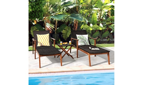 Costway 3PCS Patio Rattan Lounge Chair Chaise Set Wooden Frame Folding Table