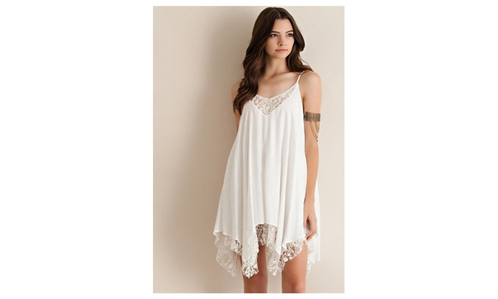 Women Thin Straps Lace Decorated Chiffon Tank Top Blouse - JPWSB748