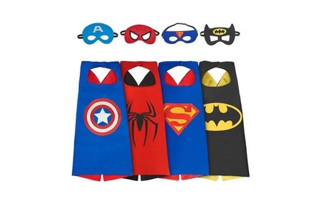 4 Pack Cartoon Dress up Costumes Satin Capes with Felt Masks for Kids 6ee17e29-3c9b-4fba-a141-69583a13cba4