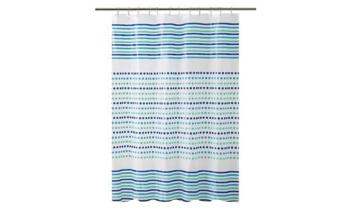 Bath Bliss Shower Curtain In Blue Green Dot Design Groupon