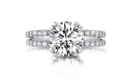 Dual Band Solitaire Crystal Ring Made With Crystals From Swarovski
