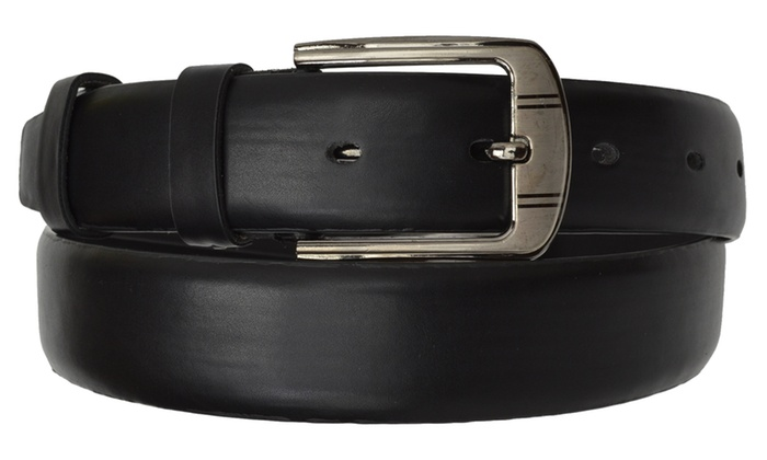 AFONiE Men's Classic Designs Black Leather Belt with Buckle