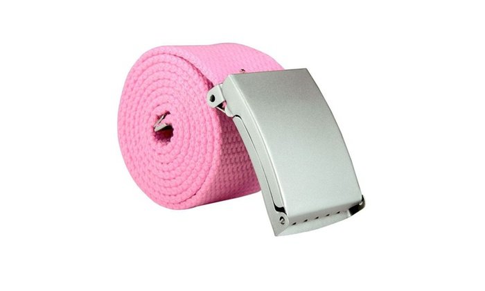 Zodaca Unisex Casual Canvas Belt w Silver Buckle Adjustable Pink