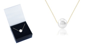 14K Gold Plated Genuine Pearl Pendant with Gift Box By Gemma Luna