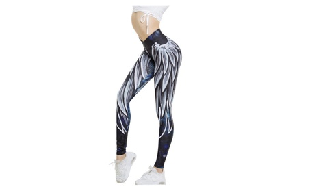 Women Angel Wing Feather Printed Gym Workout Leggings Fitness Yoga Pant afa174c3-bb5d-413d-a47f-2900664c818f