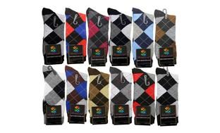 12 Pairs New Cotton Lords Men's Argyle Diamond Dress Socks Multi Color