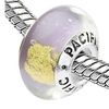 Sterling Silver 'I've Struck Gold' Murano Style Glass Bead