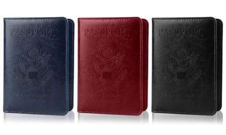 Multi-function Passport Holder with CDC Vaccine Card Slot Leather Passport Cover